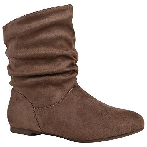 Damen Schlupfstiefel Leder-Optik Stiefeletten Bequeme Schuhe Schuhe 148943 Taupe Samtoptik 36 Flandell