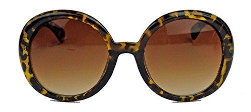 Große rund Damen Retro Sonnenbrille im Vintage Look der 60er 70er Jahre dicker breiter Rahmen R71 (Tortoise Shell/Braun)