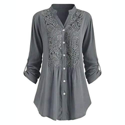 Luotuo Damen Spitze Blusen Elegante Taste V-Ausschnitt Tops Langarm Bluse Tunika Oberteile T-Shirt