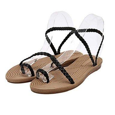 Absatz schwarz Silber flacher pu sandalen Ch Damen Sohlen Black amp;tou leuchtende lässig Weiß qxAzO6nYwf