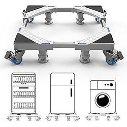 Socle Lave Linge 2.0 Base de Sèche-linge avec 4 Roues Réglable 45 cm-69 cm Charge 300 kg Réduction du Bruit Antichoc (Version Mise à Jour)