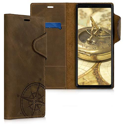 kalibri Sony Xperia 1 Hülle - Leder Handyhülle für Sony Xperia 1 - Handy Wallet Case Cover