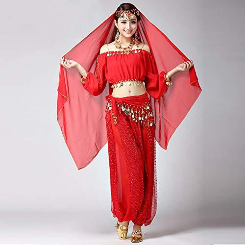 (BT-GIRL Faschingskostüme Damen Sexy Lila Orientalische Bauchtanz Fasching-Kostüme Chiffon 7 Stück,D)