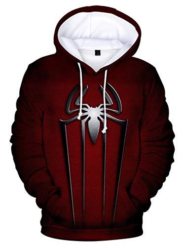 Spiderman Kostüm Hoodie - Silver Basic Herren Spiderman Kapuzenpullover Superheld Quantum Realm Cosplay Kostüm 3D Druck Trendy Teenager Hoodie,silbere Spinne,L