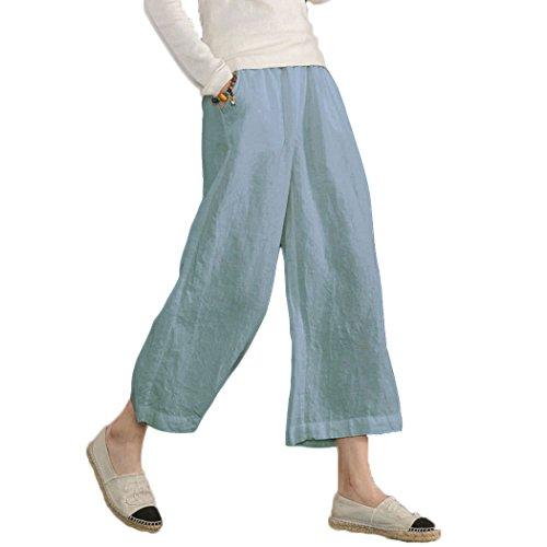 Ecupper Damen Leinenhose 7/8 Sommerhosen Leicht mit Elastischem Bund Casual Loose Fit Trousers Hell Blau S (Plus-size-leinen-hose)