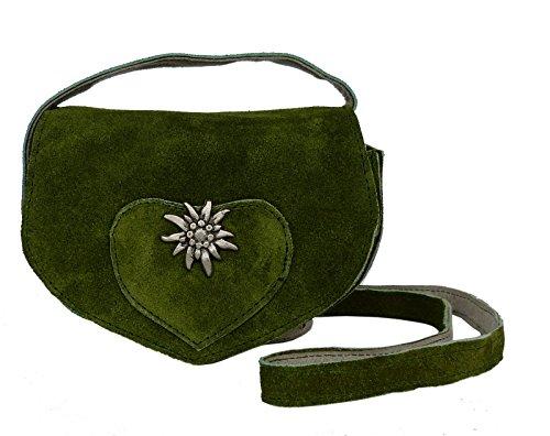 14b5b3d3fdec5 Süsse Umhängetasche- Trachtentasche fürs Dirndl - Echt Leder - Wildleder  Tasche (17x13x6 cm)