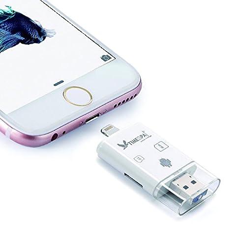 ATIMESPAL Lecteur de carte mémoire SDHC/MicroSD pour iPhone/iPad/PC/Android USB OTG Caméra De Chasse Lecteur (lecteur de carte SDHC/micro SD(009))