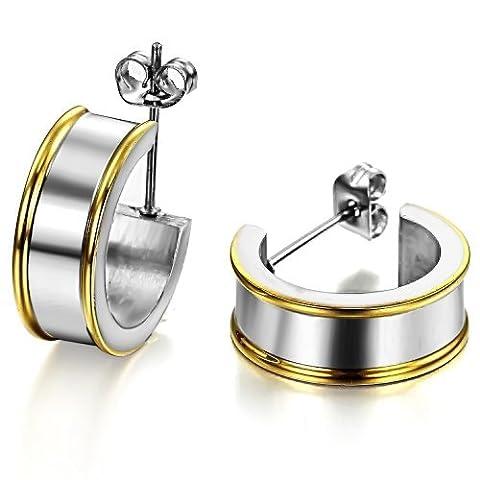 Fille Era personnalisé Titanium plate en acier poli Boucles d'oreilles créoles Boucles d'oreilles C-hoop