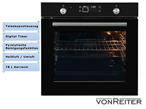 vonReiter Einbaubackofen Digitaltimer Touch Display 78L Garraum Teleskopauszug - Ofen Kontrolllampe