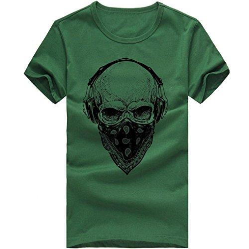 ASHOP Herren Mode Bedrucktes T-Shirt Rundhals Kurzarmshirt Vintage T-Shirt Print Shirt Muscle Slim Fit Sweatshirt für deinen trainierten Körper (M-3XL) (Grün, XL)
