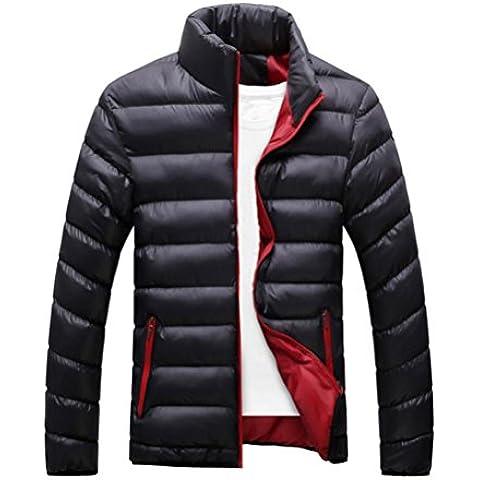 Hombres capa, Amlaiworld Abrigo de abrigo de invierno de Slim Fit (XL, Negro)