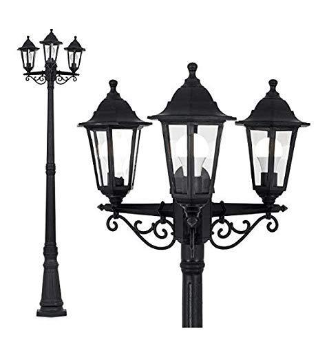 UK-Gärten 7ft Victorian Garden Lamp Post - Single Traditionelle viktorianischen Stil 2.15m Black 3 Way IP44 im Freiengarten-Lampen-Pfosten-Licht -