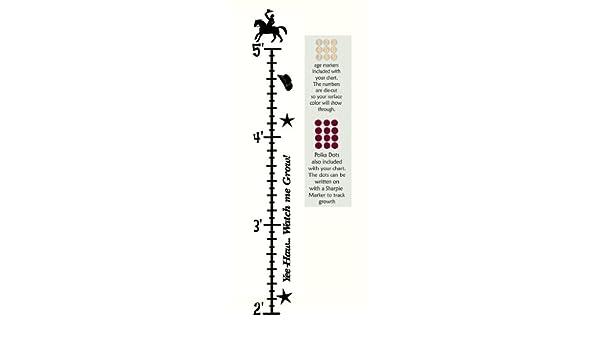 Black 5ft Kids Cowboy Wall Vinyl Sticker Growth Chart 2ft