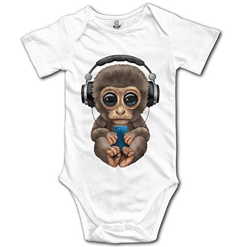 PhqonGoodThing Unisex Infant Monkey Listen to Music Romper Babysuit Jumpsuit Onesie Bodysuit Monkey Infant Bodysuit