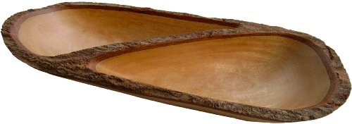 RoRo 18 Natural Sustainable Mango Wood Divided Tray with Bark Edges by roro -