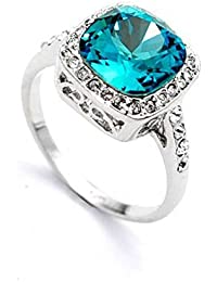 Blue Square Topaz Crystal made with Swarovski Elements stuuded con CZ, 18k Anillo de la manera del oro blanco Platd