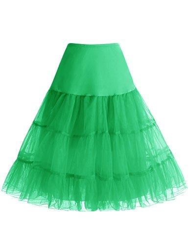 bbonlinedress Organza 50s Vintage Rockabilly Petticoat Underskirt Green L