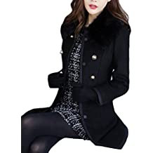 Mujer Chaqueta Larga de Elegante Abrigo Trench con Cuello de Piel Doble Botones Jacket Coat Outwear