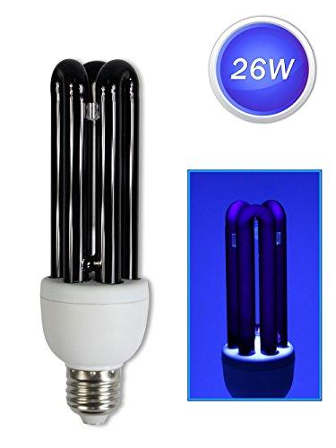 Vetrineinrete Lampadina a raggi uv luce nera di wood con attacco e27 lampada 26 watt neon 220 v 6400 k da discoteca festa A1
