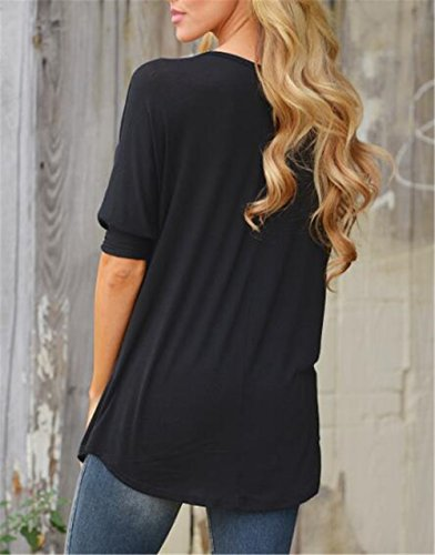 AILIENT Donna T Shirt Vintage Maniche Lunghe a Pipistrello Eleganti Basic Larghe Lunga Maglietta Sciolto Top Paillettes Blusa Camicia Black
