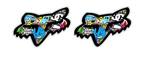 Motocross Aufkleber Stickerbomb Motorrad Dirtbike Bike Mountainbike BMX Sticker / Plus Schlüsselringanhänger aus Kokosnuss-Schale / Motorsport passt zu Suzuki Yamaha Kawasaki (6 Aufkleber 8x5.7cm)
