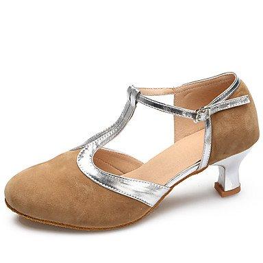 Silence @ Chaussures de danse en daim/cuir verni daim/cuir verni latine/moderne talons Stiletto Talon Practise/Indoorblack noir