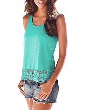 StyleDome Mujer Camiseta Tirantes Blusa sin Mangas Encaje Encaje Elegante Deportiva Oficina Casual