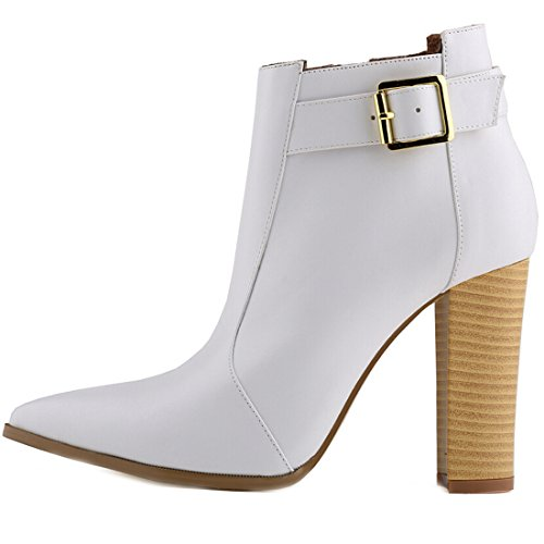 Oasap Women Fashion Solid Chunky High Heel Ankle Bootie white