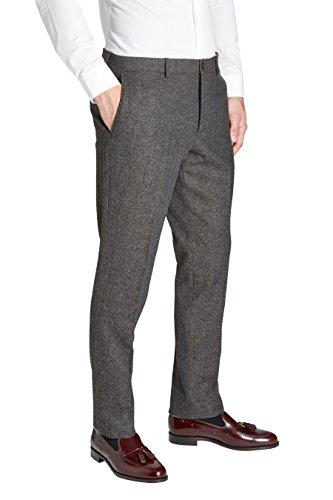 next Hommes Pantalon Slim Texturé Marron