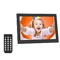 ICOCO 12 inch 1080P HD LCD Digital Photo Frame 1920x1080 High Resolution Support Hu-Motion Sensor/ Video /Music Player/Calendar/Clock/ Alarm Clock Function with Remote Control (Black)