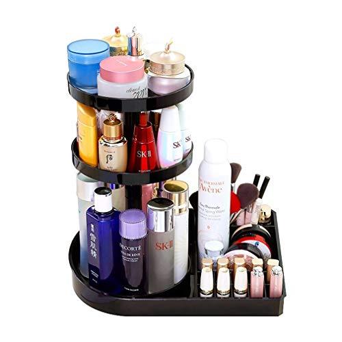 Organisateur de Maquillage pour Boîte de Rangement, Support de Maquillage Rotatif à 360 Degrés, Grande Capacité (Couleur : NOIR)