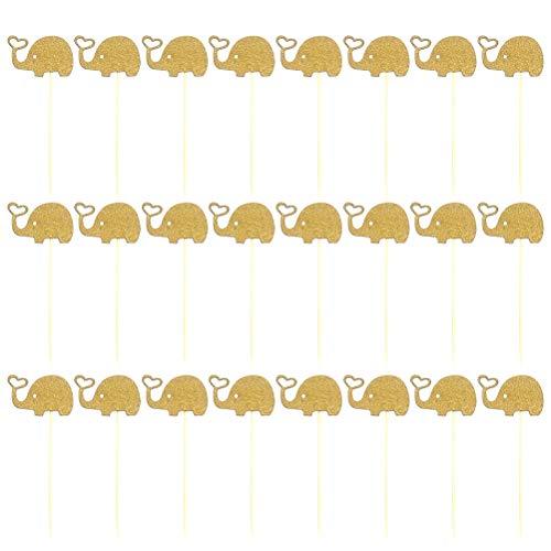 BESTONZON 24 stücke Nette Elefanten Kuchen Topper/Cupcake Picks, Suitbale für Baby Shower Geburtstag Thema Partydekorationen Liefert (Golden)