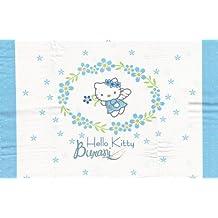 Edredón de cama de bebé con bordes Flowers Angel azul