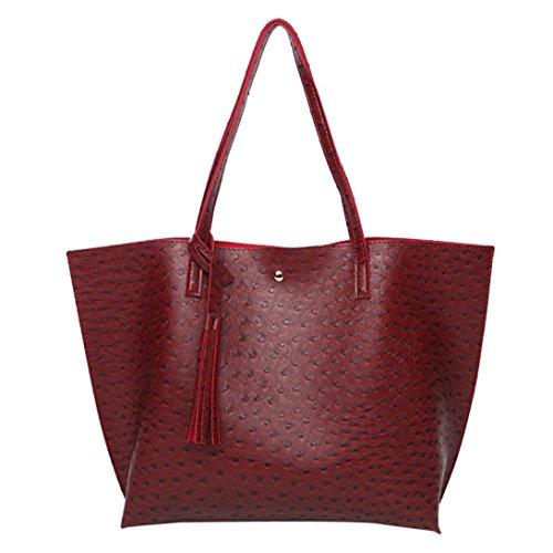Damen Handtaschen, Huhu833 Frau Vintage Taschen Frauen Leder Quaste Große Kapazität Handtasche Strauß Muster Umhängetasche Rot