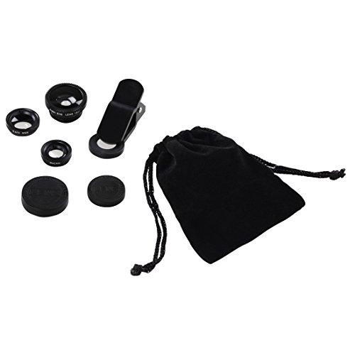 Hama Smartphone Objektiv Set 3in1 (Fischauge, Weitwinkel, Makroobjektiv, Mit Clip für Handys und Tablets, Aufbewahrungstasche und Objektivdeckel, Universal) schwarz
