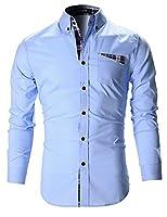 FLATSEVEN Mens Slim Fit Checker Patched Pocket Casual Shirts (SH140) Light Blue, XXL