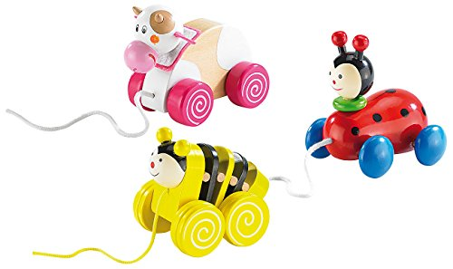 Playtastic Lustige Figuren aus Holz: Lustige Holz-Ziehfiguren im 3er-Set (Kinder-Holzspielzeug) (Kuh Hello Kitty)