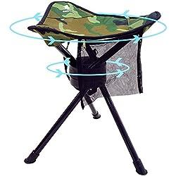 GEERTOP Pliant Trépied Pivotant Chaise Plein 360 Degrés Rotation Heavy Duty Camp Tabouret pour Camping Pêche Randonnée Chasse en Plein Air