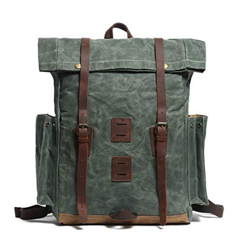 Vintage Folding Laptop Rucksack for Männer/Frauen mit Griff, Casual Work Computer-Tasche for die Reiseschule und College, passt 15,6-Zoll-Notebooks (Color : Lake Green, Size : L) -