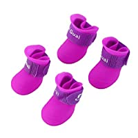 Swiftswan Creative Design Pet Dogs Lovely Comfortable Waterproof PVC Boots Type Soft Rain Shoes for Small Dogs