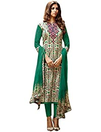 Beautiful Green lawn Cotton printed with orange Embroidery salwar Suit Dress Material