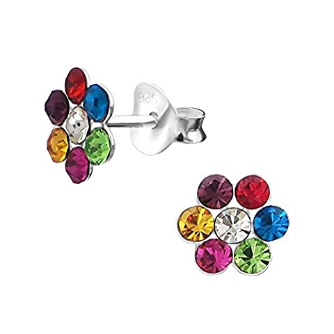 Multi Coloured Crystal Flower Earrings - Sterling Silver - Sparkle Daisy