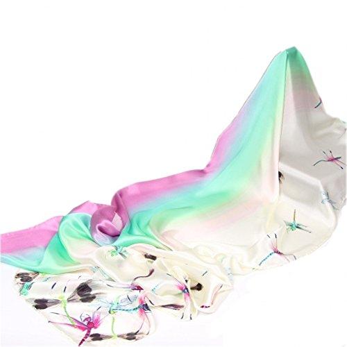 Prettystern 100% Seide langer Seidenschal für Damen Libellen 180cm bunt leicht Tuch Accessoire - Libellen (Seide Pastellfarben)