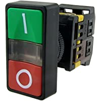 SODIAL(R) AC 220V Luz amarilla ENCENDIDO APAGADO COMIENZO PARADA Interruptor de boton pulsador momentaneo 1 NO 1 NC
