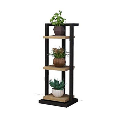 FL- Salon en bois bois fleur Stand Art fer étroit multicouche intérieur succulentes Multifonction vert radis étagères chambre cadre décoratif atterrissage (Couleur : Black(a), taille : 3-layer)