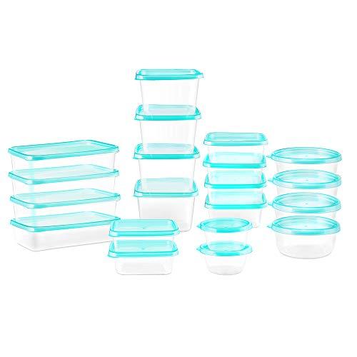 esonmus 20 Pezzi contenitori per Alimenti in plastica, 6 Set tondi + 8 Set Quadrati + 6 Set rettangolari,Senza BPA