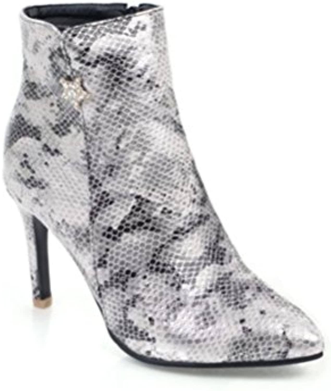 LVRXJP13 Femmes Stilettos Stilettos Femmes Pointy Snake Chaussures Grande  Taille Zipper Court Tube Court Bottes Martin 189acfd2cc6