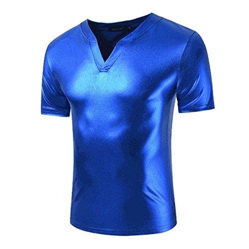 T-Shirt Manica Corta da Uomo Tendenza Metallizzata Top Shirt Manica Corta Clubwear Slim Fit Halloween Cosplay Disco Dance Party Costume