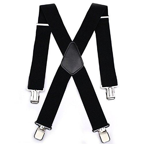 Herren Hosenträger 50mm Breite X - gestalten mit 4 Starken Clips -elastisch und längenverstellbar in verschiedenen Designs / schwarz