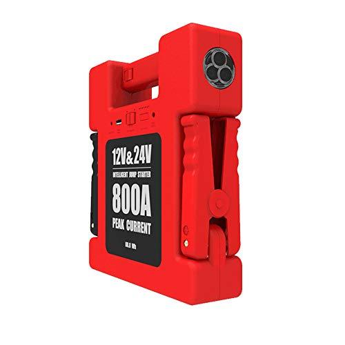 YSY 24000mAh Autostarter, 800-A-Autobatterie-Verstärker mit LED-Taschenlampe und 24-V-Überbrückung, rot